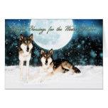 o cartão do solstício de inverno com wolfs e lua