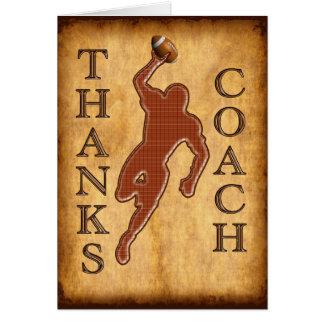 O cartão do treinador de futebol dos obrigados