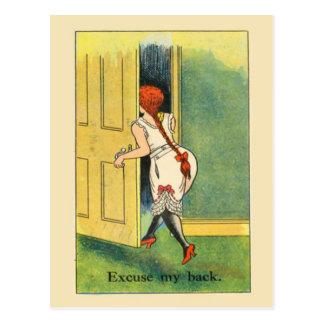 O cartão do vintage da réplica desculpa minha par cartao postal