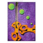 O cartão do violoncelo alaranjado brilhante