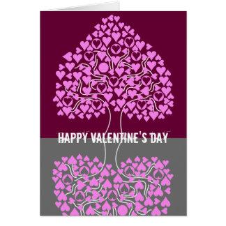 O cartão dos namorados da árvore do coração (cinza