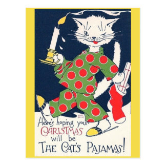 O cartão engraçado do pijama do gato do gato do