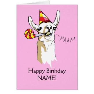 O cartão feliz do lama da festa de aniversário