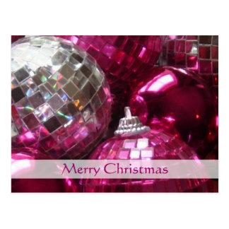 """O cartão Feliz Natal dos Baubles cor-de-rosa do """""""