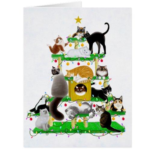O cartão grande da árvore do gato do Natal