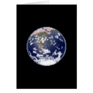 O cartão imóvel da arte do pixel da terra