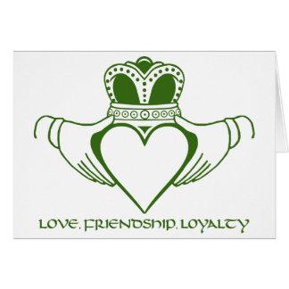 O cartão irlandês do símbolo de Claddagh