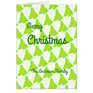 O cartão modelado da árvore de Natal personaliza à