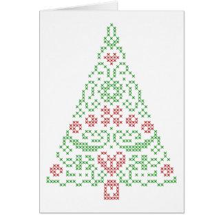 O cartão nórdico do design do Natal do bordado