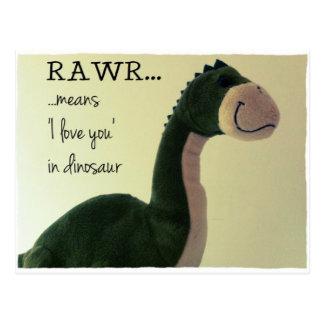 """O cartão RAWR de Dino significa """"eu te amo"""" no"""