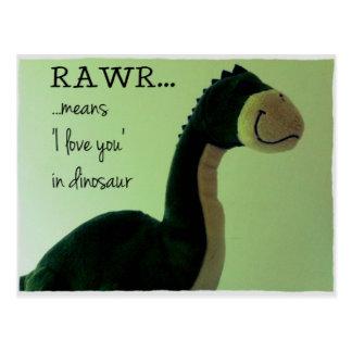 O cartão Rawr de Dino significa 'eu te amo no