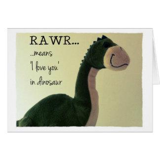 """O cartão Rawr do dinossauro significa """"eu te amo"""""""