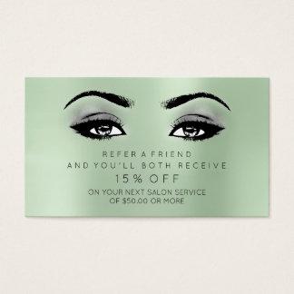 O cartão referencial do salão de beleza chicoteia