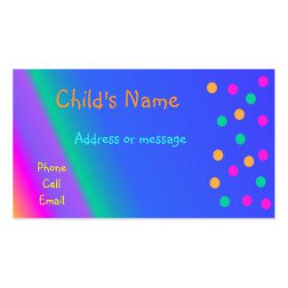 O cartão telefónico das crianças brilhantes cartão de visita