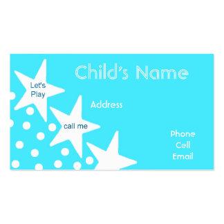 O cartão telefónico das crianças das estrelas cartão de visita