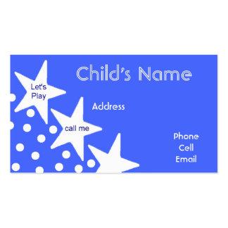 O cartão telefónico das crianças das estrelas modelo cartão de visita