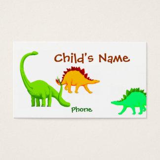 O cartão telefónico das crianças do dinossauro