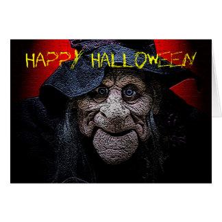 O cartão velho do Dia das Bruxas da bruxa