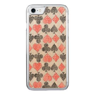 O cartão vermelho do damasco sere o clube da pá do capa iPhone 8/ 7 carved