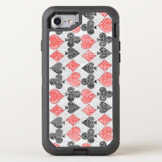 O cartão vermelho do damasco sere o clube da pá do capa para iPhone 7 OtterBox defender