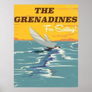 O cartaz das viagens vintage dos Grenadines Pôster