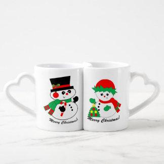 O casal do boneco de neve - caneca do Natal do