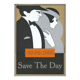 O casal formal do estilo do vintage convida o dia convite