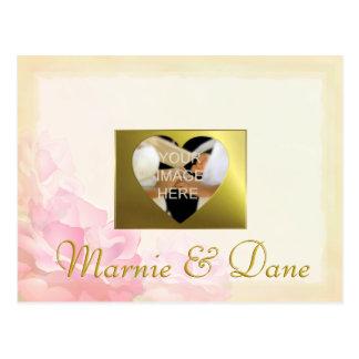 O casamento da foto, salvar a data, grupo da flor cartão postal