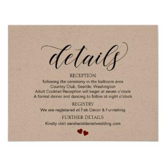 O casamento da tipografia detalha o cartão Kraft