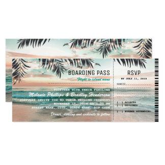 O casamento de praia tropical da passagem de convite 10.16 x 23.49cm