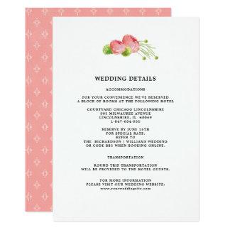 O casamento detalha cartões florais da aguarela
