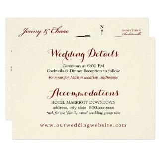 O casamento detalha o mapa da recepção do cartão