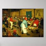 O casamento do camponês de Pieter Bruegel (1568) Posteres