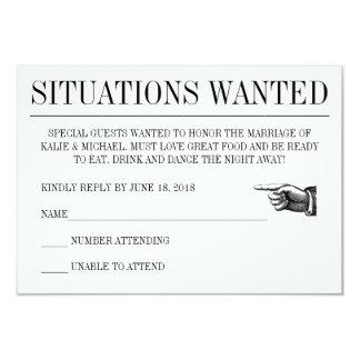 O casamento do estilo do jornal responde cartão convite 8.89 x 12.7cm