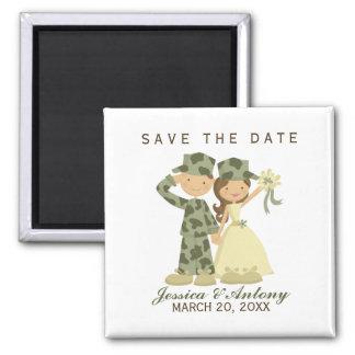 O casamento do soldado e da noiva salvar a data ímã quadrado