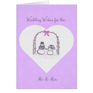 O casamento no inverno roxo vazio deseja o cartão