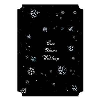 O casamento no inverno Sparkling preto e branco Convite 12.7 X 17.78cm