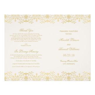 O casamento programa o encanto do vintage do ouro panfletos personalizado