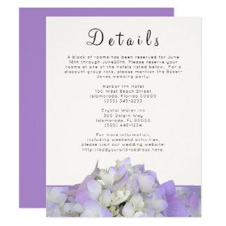 O casamento roxo da lavanda detalha o cartão do