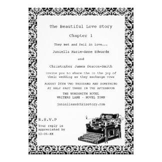 O casamento tema damasco da máquina de escrever do convite personalizados