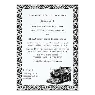 O casamento tema damasco da máquina de escrever do convite 12.7 x 17.78cm
