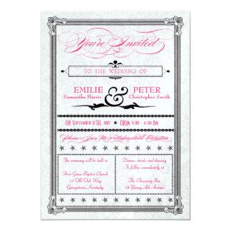 O casamento tema damasco metálico do rosa quente & convite 12.7 x 17.78cm
