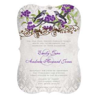 O casamento tema damasco roxo & cinzento dos convite 12.7 x 17.78cm