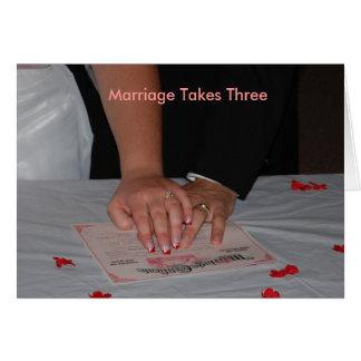 O casamento toma três cartão comemorativo