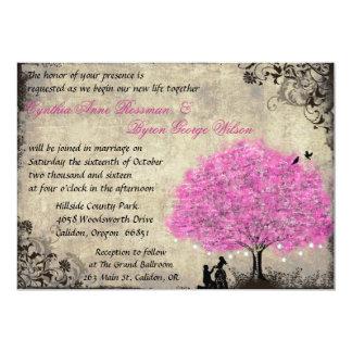 O casamento vintage da árvore do rosa quente da convite 12.7 x 17.78cm