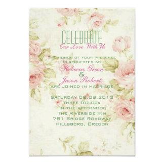 o casamento vintage floral do rosa elegante do convite 12.7 x 17.78cm