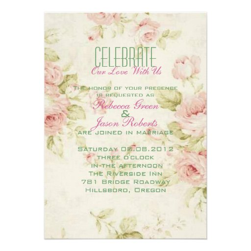 o casamento vintage floral do rosa elegante do ros convite personalizados