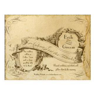 O casamento vintage manchado chá 1 - salvar as dat cartão postal