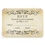 O casamento vintage RSVP carda o Flourish elegante Convites Personalizado