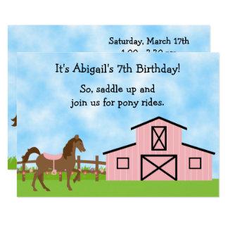 O cavalo de Brown, pônei cor-de-rosa do celeiro Convite 12.7 X 17.78cm